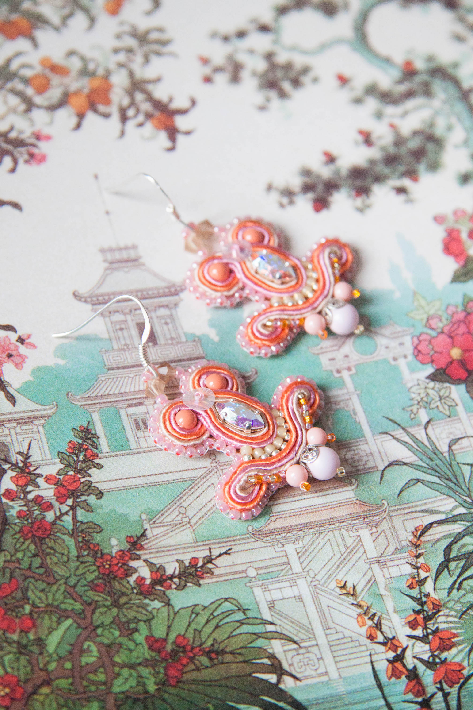 dissident sheep bijoux brodés pièces uniques - Miracle Earrings Tea for two 1